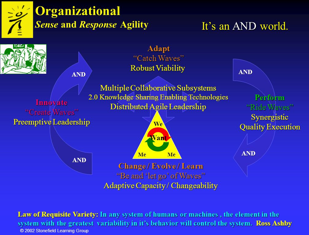 © 2002 Stonefield Learning Group Lower Unconscious Higher Unconscious Self Realization Self-actualization Self Esteem Needs Love and Belonging Safety Needs Physiological Needs Developmental StagesMaslow Psychosynthesis WE Me You Need Independence Need Affiliation/Fit Need Independence Need Affiliation/Fit