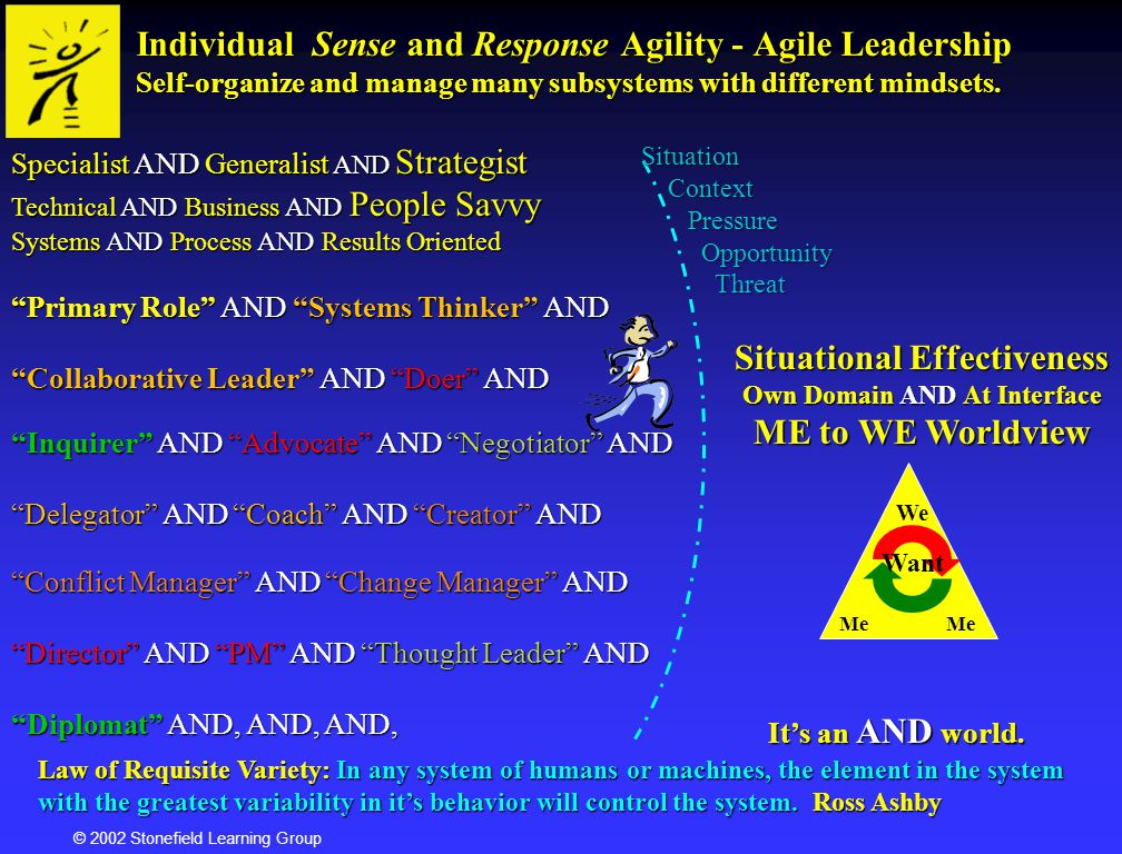 © 2002 Stonefield Learning Group Cognitive Integrated View Phases of Development Independence Effect Change Effect Change I want I want Affiliation Affiliation Enhance Fit Enhance Fit You want You want Expert Strategist Achiever Autonomous Magician SelfInterpersonalAffectiveMoral Diplomat Psychosynthesis / Maslow Wilber-Lines and Tiers / Levels Loevinger, Torbert, Kegan Levels Me to We Tier 2 Level Tier 1 Level Me You