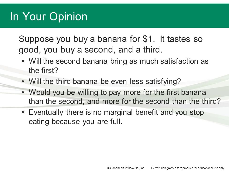Permission granted to reproduce for educational use only.© Goodheart-Willcox Co., Inc. Suppose you buy a banana for $1. It tastes so good, you buy a s