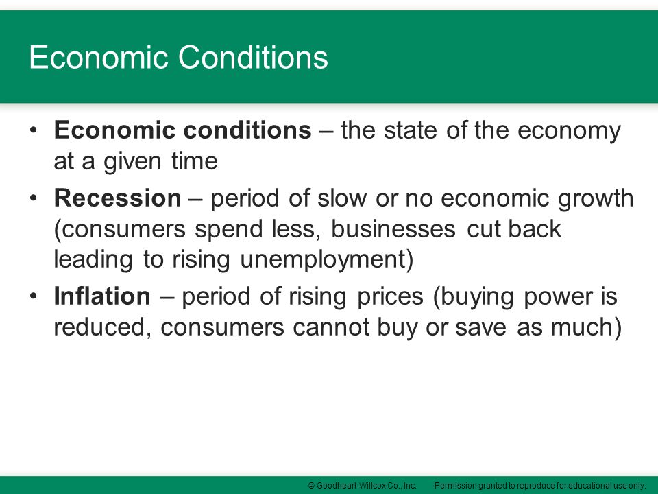 Permission granted to reproduce for educational use only.© Goodheart-Willcox Co., Inc. Economic Conditions Economic conditions – the state of the econ