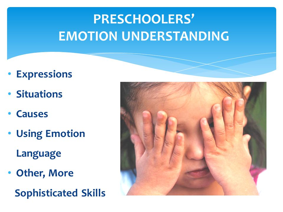 PRESCHOOLERS EMOTION UNDERSTANDING Expressions Situations Causes Using Emotion Language Other, More Sophisticated Skills