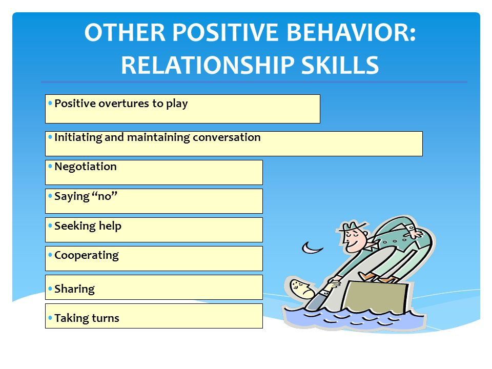 OTHER POSITIVE BEHAVIOR: RELATIONSHIP SKILLS Positive overtures to play Initiating and maintaining conversation Negotiation Saying no Seeking help Coo