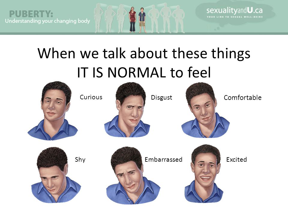 When we talk about these things IT IS NORMAL to feel Comfortable Curious Embarrassed Disgust ExcitedShy