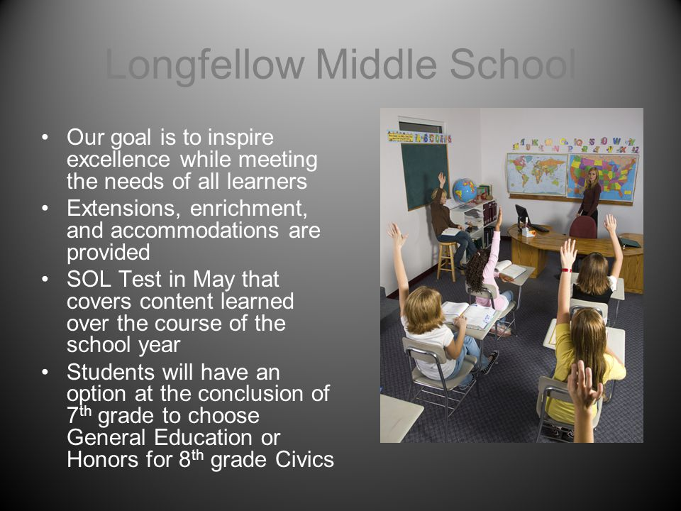 Longfellow Middle School Our goal is to inspire excellence while meeting the needs of all learners Extensions, enrichment, and accommodations are prov