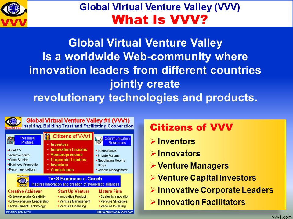 Global Virtual Venture Valley (VVV) vvv1.com Global Virtual Venture Valley is a worldwide Web-community where innovation leaders from different countries jointly create revolutionary technologies and products.
