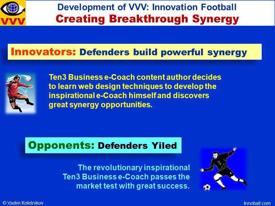 © Vadim Kotelnikov, Founder, Ten3 Business e-Coach, 1000ventures.com, innoball.com, innovarsity.com Innovation Process as a Football Game Startup Case Study: Development of VVV VVV Development of Global Virtual Venture Valley VVV Development of Global Virtual Venture Valley Thank you!