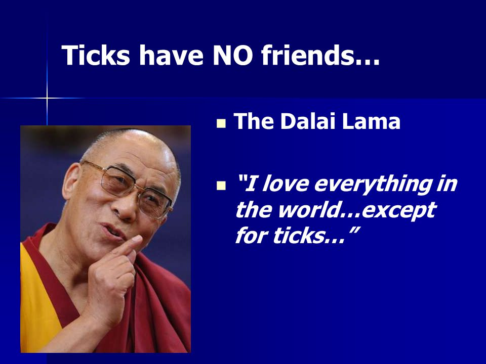 Ticks have NO friends… The Dalai Lama I love everything in the world…except for ticks…