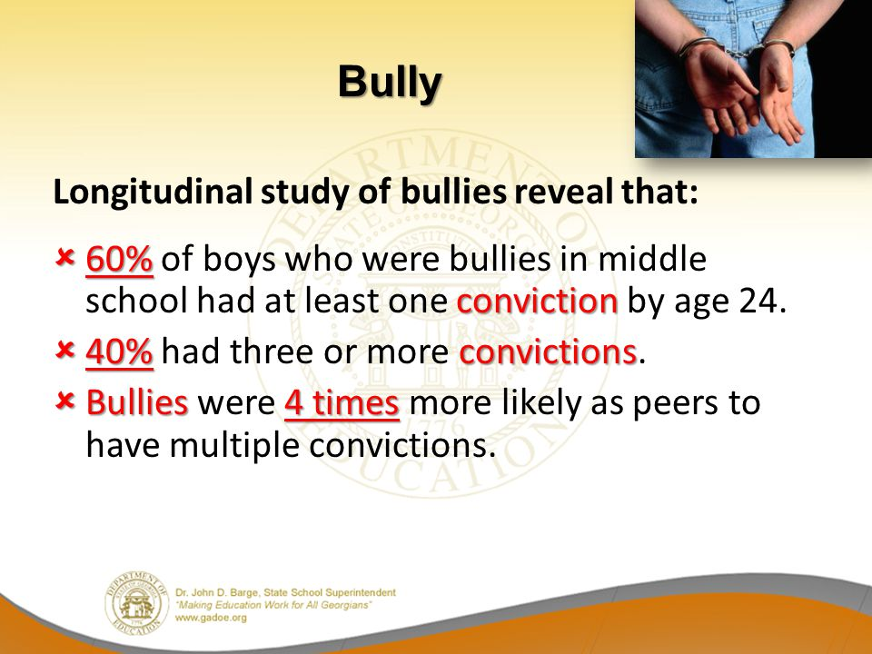 Longitudinal study of bullies reveal that: 60% conviction 60% of boys who were bullies in middle school had at least one conviction by age 24. 40% con