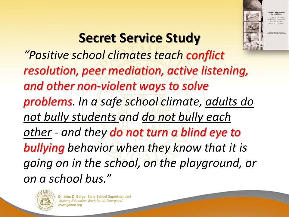 conflict resolution, peer mediation, active listening, and other non-violent ways to solve problems do not turn a blind eye to bullying Positive schoo