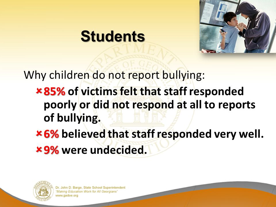 Why children do not report bullying: 85% 85% of victims felt that staff responded poorly or did not respond at all to reports of bullying. 6% 6% belie
