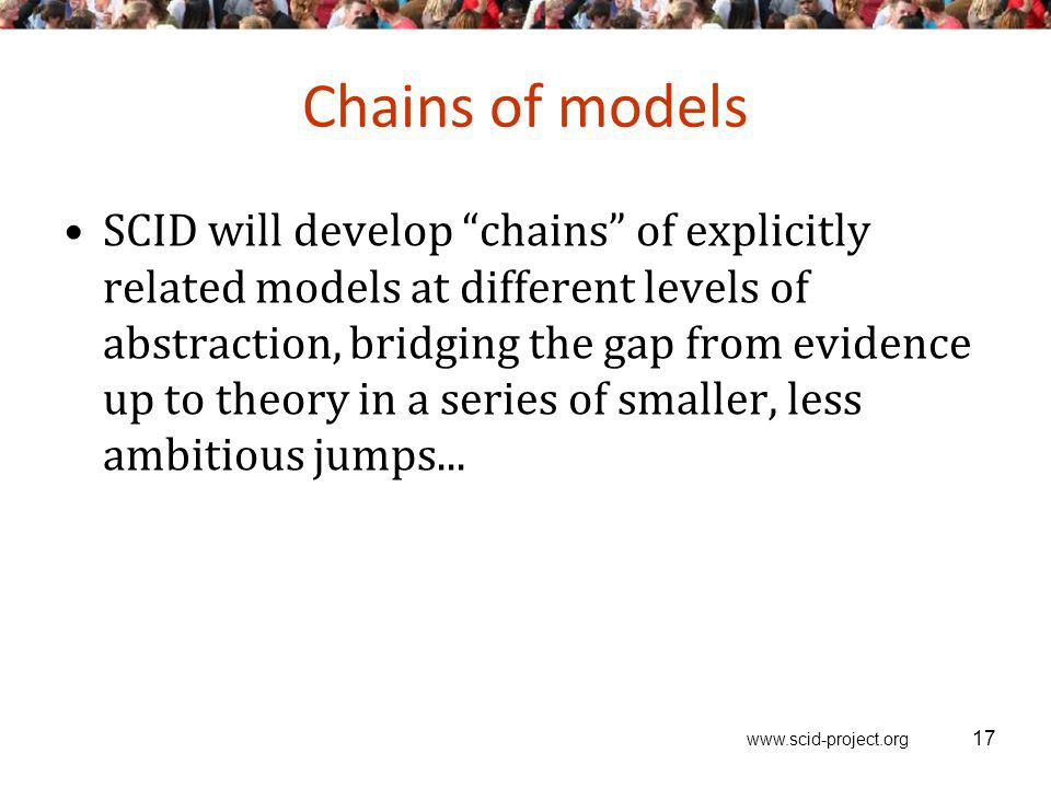 www.scid-project.org Chains of models SCID will develop chains of explicitly related models at different levels of abstraction, bridging the gap from evidence up to theory in a series of smaller, less ambitious jumps...