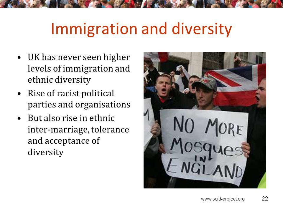 www.scid-project.org Immigration and diversity UK has never seen higher levels of immigration and ethnic diversity Rise of racist political parties an