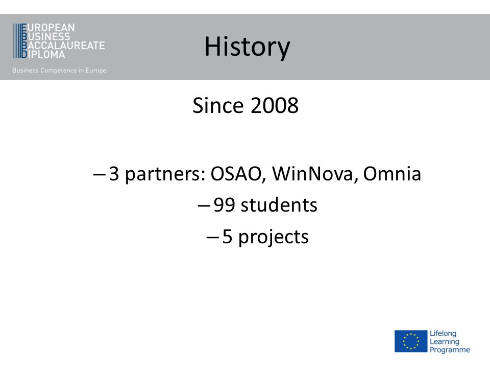 History Since 2008 – 3 partners: OSAO, WinNova, Omnia – 99 students – 5 projects