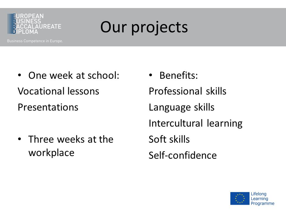 Our projects One week at school: Vocational lessons Presentations Three weeks at the workplace Benefits: Professional skills Language skills Intercult