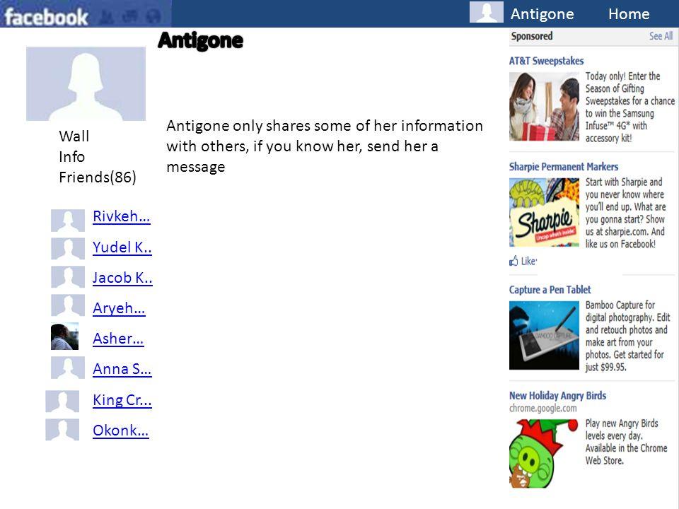 Antigone Home Wall Info Friends(86) Rivkeh… Yudel K..