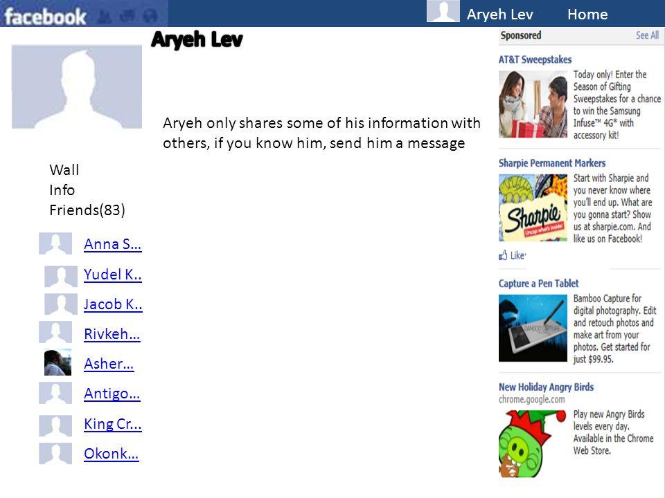 Aryeh Lev Home Wall Info Friends(83) Anna S… Yudel K..