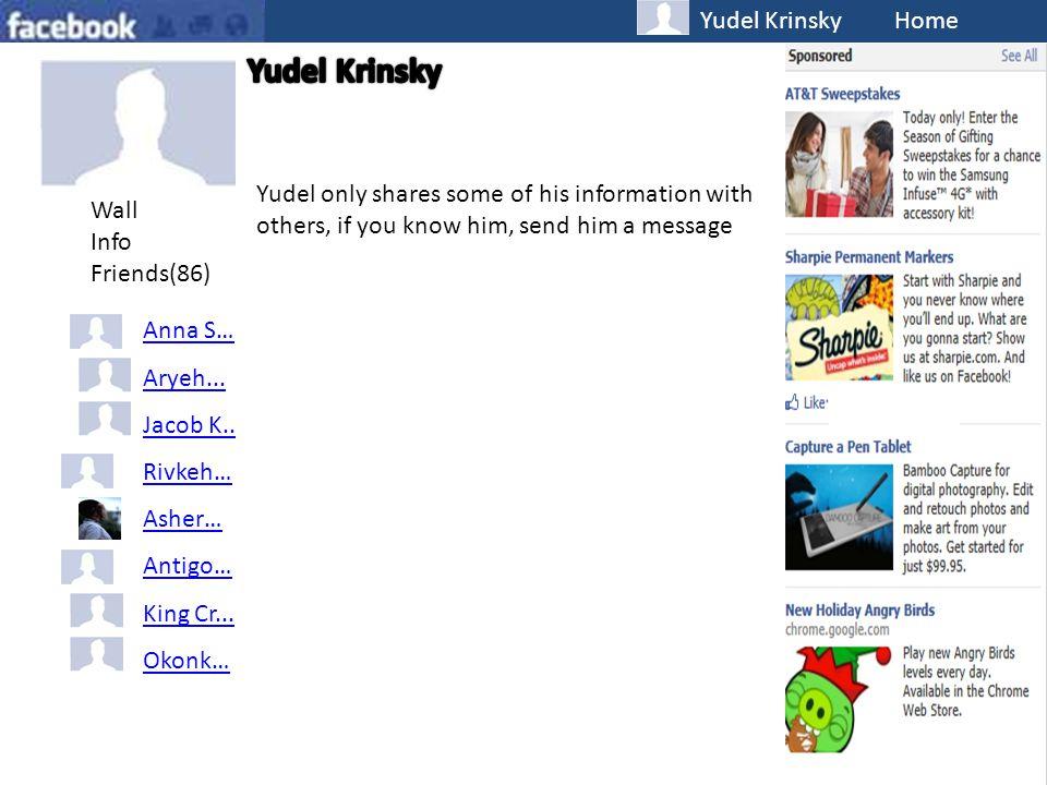 Yudel Krinsky Home Wall Info Friends(86) Anna S… Aryeh...