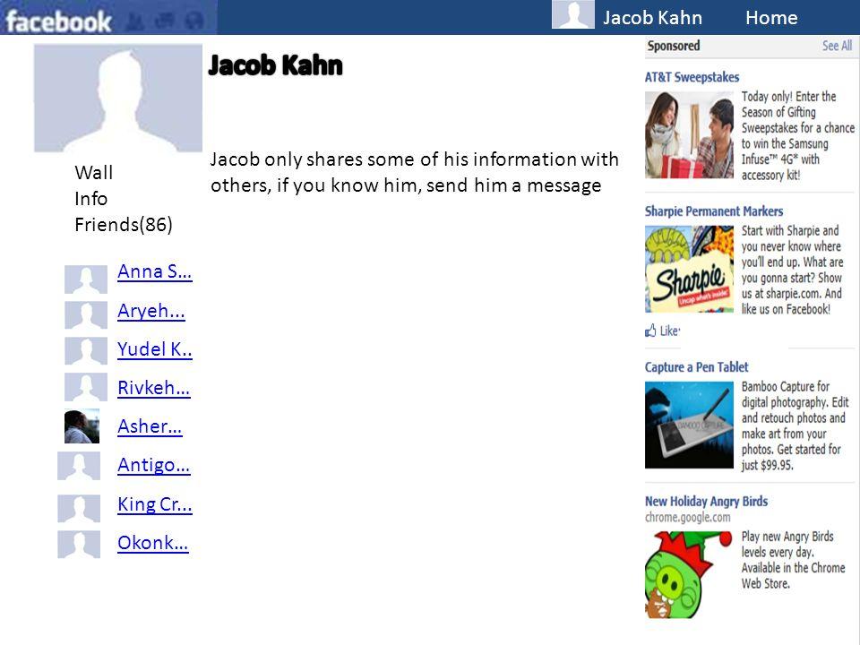 Jacob Kahn Home Wall Info Friends(86) Anna S… Aryeh...