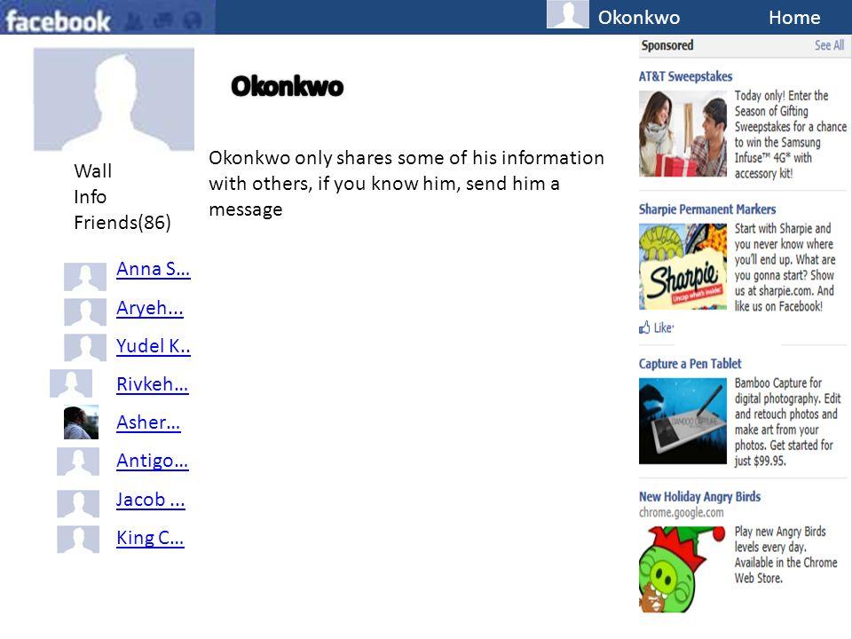 OkonkwoHome Wall Info Friends(86) Anna S… Aryeh...