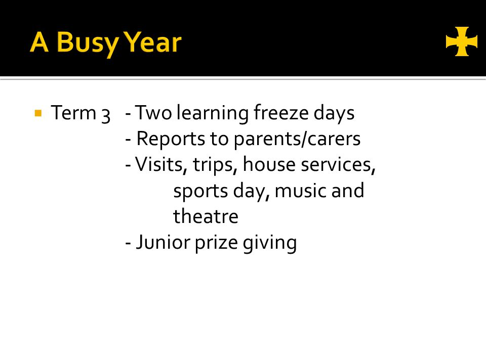 Term 3- Two learning freeze days - Reports to parents/carers - Visits, trips, house services, sports day, music and theatre - Junior prize giving