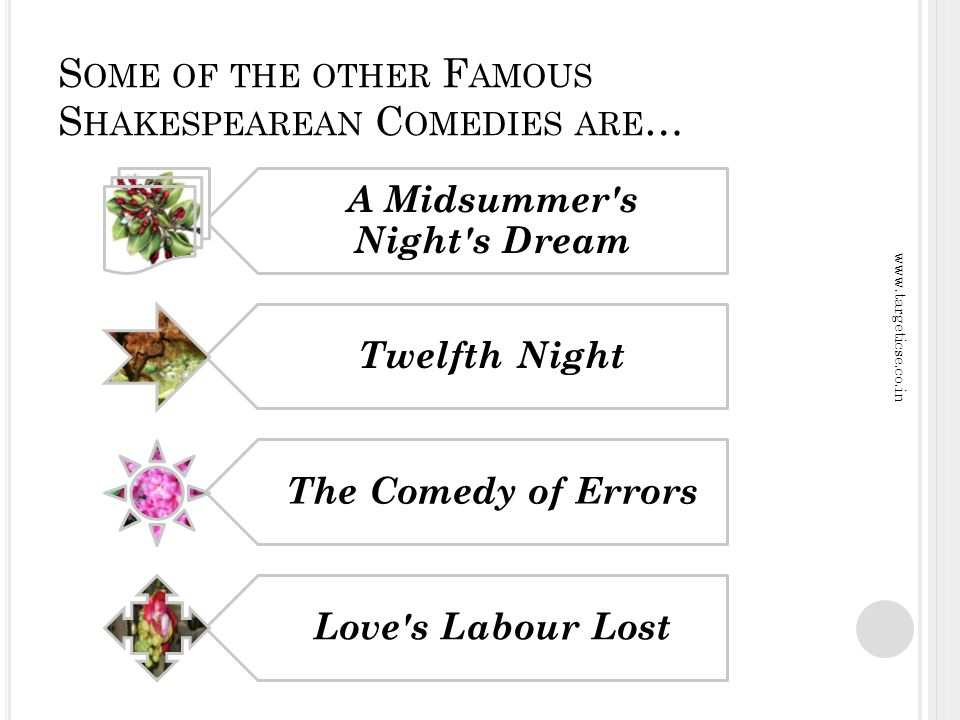 S HAKESPEAREAN COMEDIES ALSO INCLUDE : Multiple, intertwining plots Use of all styles of comedy (slapstick, puns, dry humor, earthy humor, witty banter, practical jokes) Pastoral element (courtly people living an idealized, rural life), originally an element of Pastoral Romance, exploited by Shakespeare for his comic plots and often parodied therein for humorous effects Happy Ending, though this is a given, since by definition, anything without a happy ending can t be a comedy www.targeticse.co.in
