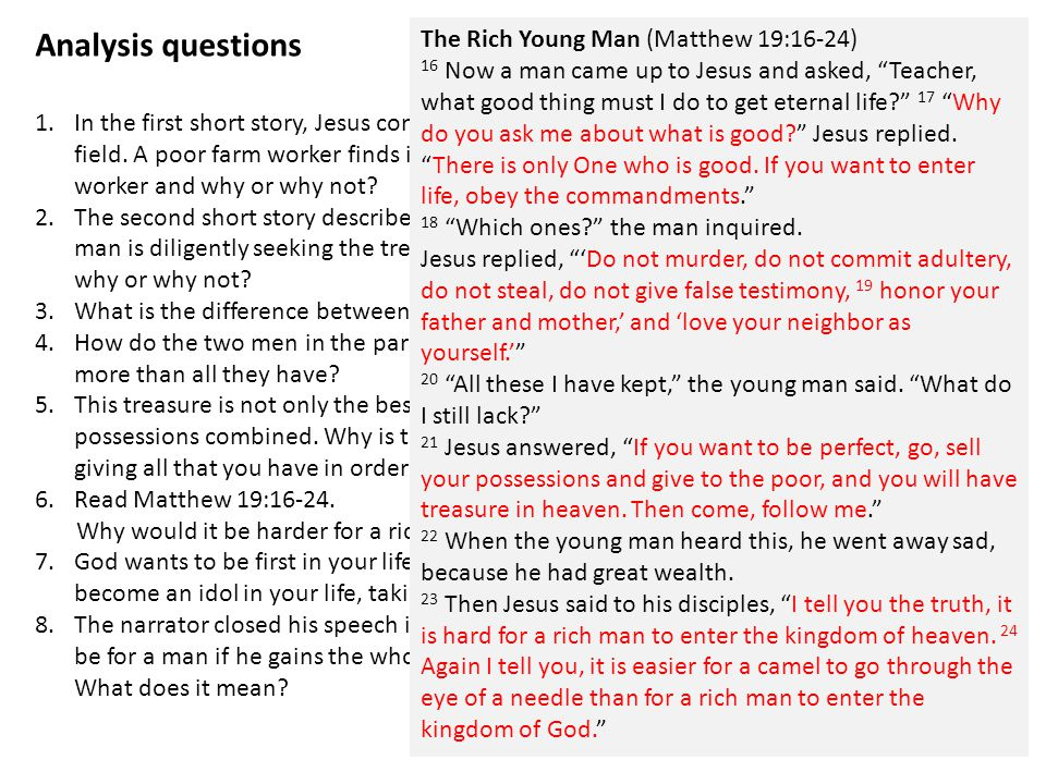 Analysis questions 1.In the first short story, Jesus compares the Kingdom of God to treasure buried in a field.