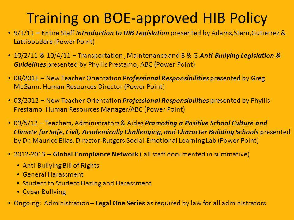 Training on BOE-approved HIB Policy 9/1/11 – Entire Staff Introduction to HIB Legislation presented by Adams,Stern,Gutierrez & Lattiboudere (Power Poi