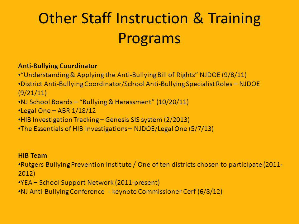 Other Staff Instruction & Training Programs Anti-Bullying Coordinator Understanding & Applying the Anti-Bullying Bill of Rights NJDOE (9/8/11) District Anti-Bullying Coordinator/School Anti-Bullying Specialist Roles – NJDOE (9/21/11) NJ School Boards – Bullying & Harassment (10/20/11) Legal One – ABR 1/18/12 HIB Investigation Tracking – Genesis SIS system (2/2013) The Essentials of HIB Investigations – NJDOE/Legal One (5/7/13) HIB Team Rutgers Bullying Prevention Institute / One of ten districts chosen to participate (2011- 2012) YEA – School Support Network (2011-present) NJ Anti-Bullying Conference - keynote Commissioner Cerf (6/8/12)