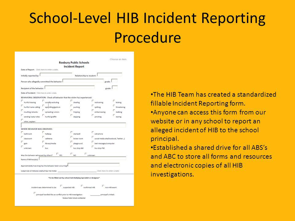 School-Level HIB Incident Reporting Procedure The HIB Team has created a standardized fillable Incident Reporting form.