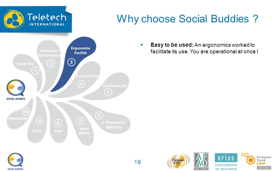 Why choose Social Buddies . 19 Easy to be used: An ergonomics worked to facilitate its use.