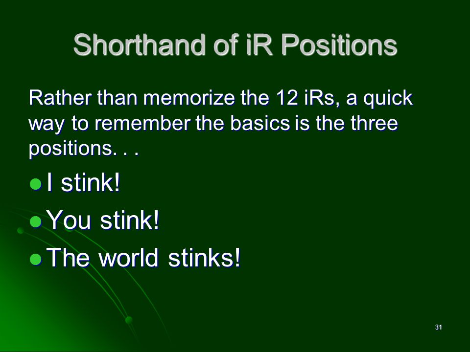 Shorthand of iR Positions Rather than memorize the 12 iRs, a quick way to remember the basics is the three positions... I stink! I stink! You stink! Y