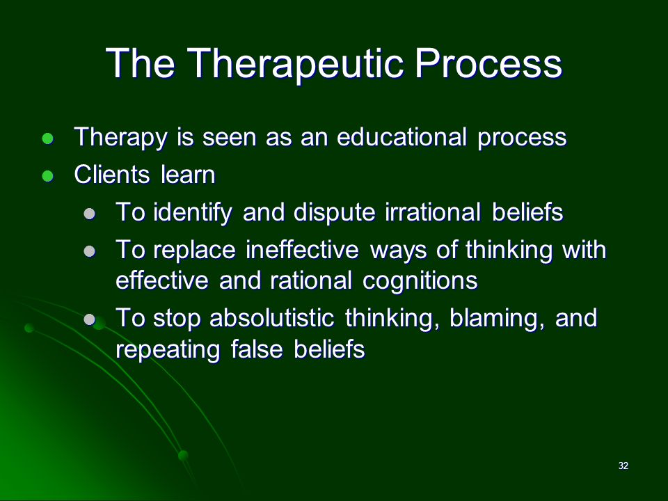 The Therapeutic Process Therapy is seen as an educational process Therapy is seen as an educational process Clients learn Clients learn To identify an
