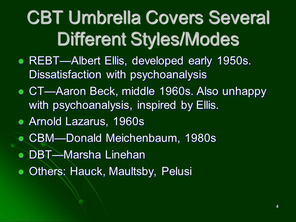 CBT Umbrella Covers Several Different Styles/Modes REBTAlbert Ellis, developed early 1950s. Dissatisfaction with psychoanalysis REBTAlbert Ellis, deve