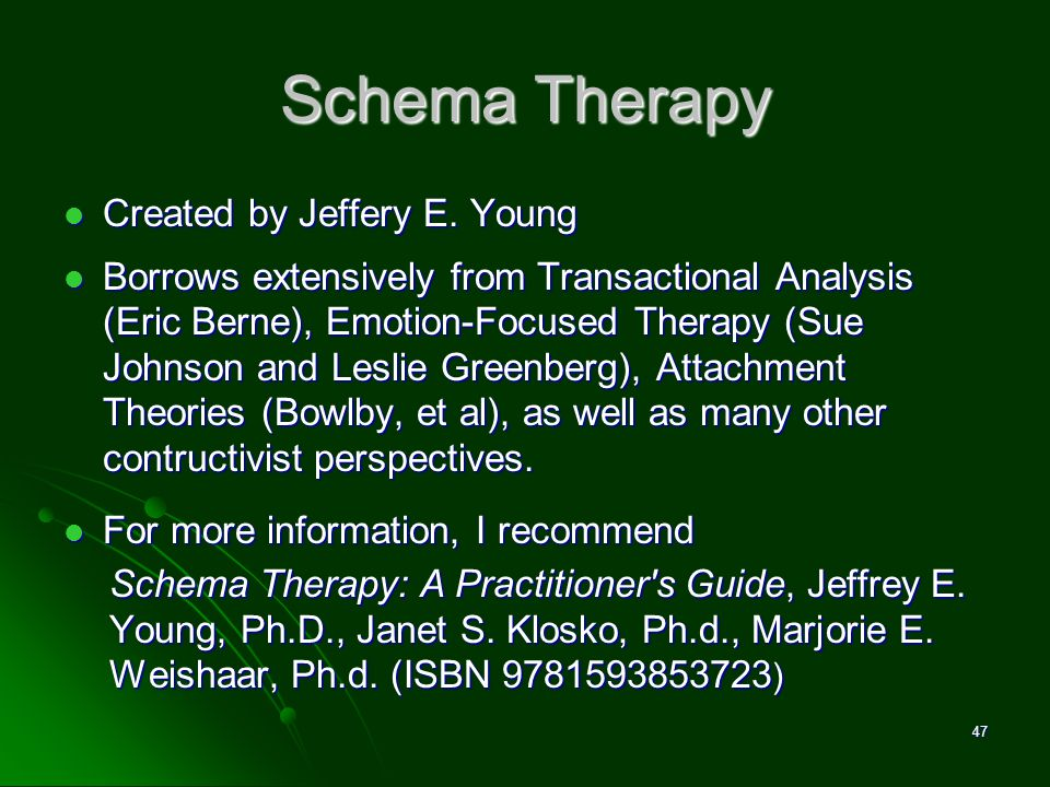 Schema Therapy Created by Jeffery E. Young Created by Jeffery E. Young Borrows extensively from Transactional Analysis (Eric Berne), Emotion-Focused T