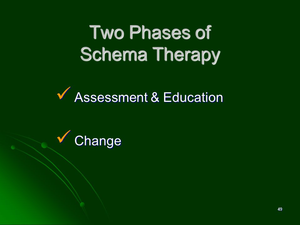 Two Phases of Schema Therapy Assessment & Education Assessment & Education Change Change 49