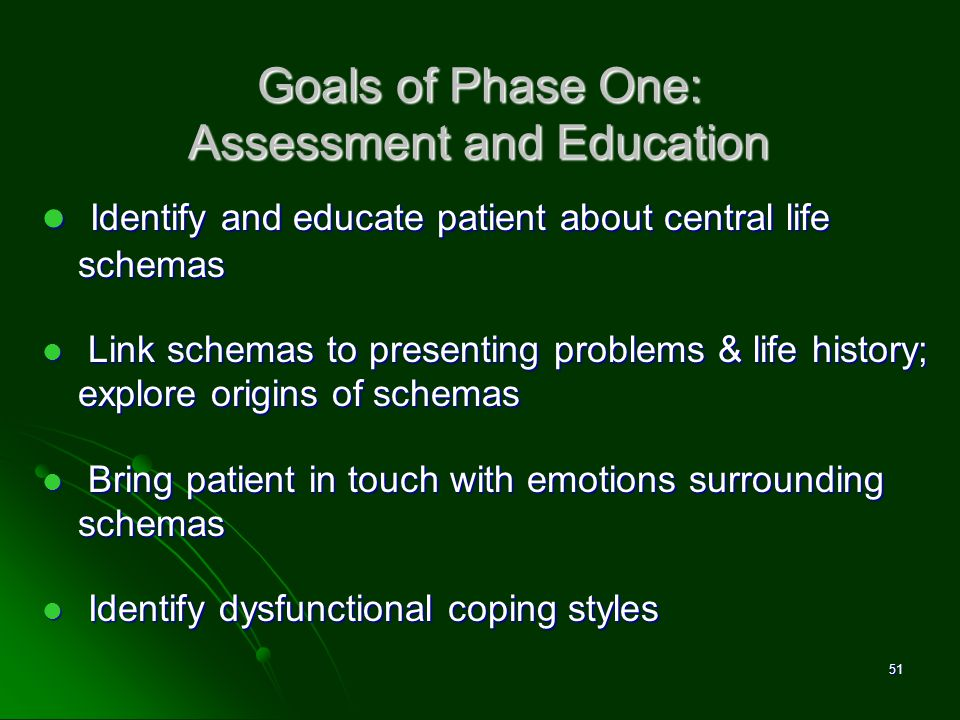 Goals of Phase One: Assessment and Education Identify and educate patient about central life schemas Identify and educate patient about central life s