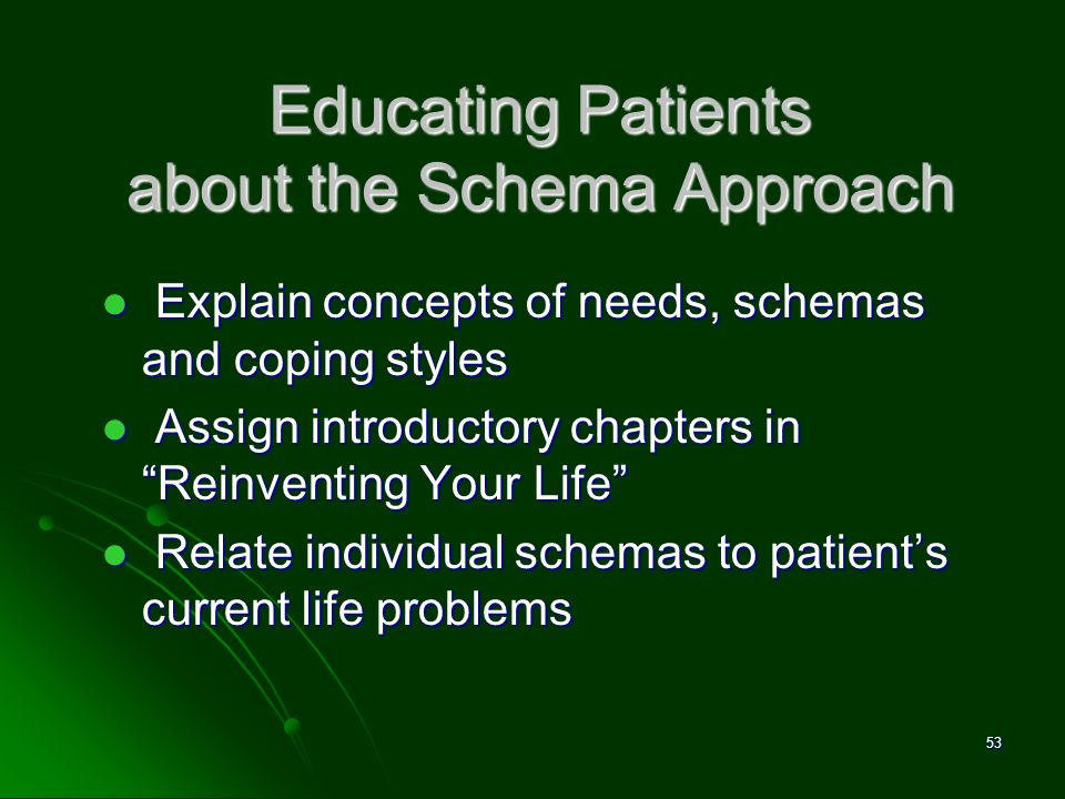 Educating Patients about the Schema Approach Explain concepts of needs, schemas and coping styles Explain concepts of needs, schemas and coping styles