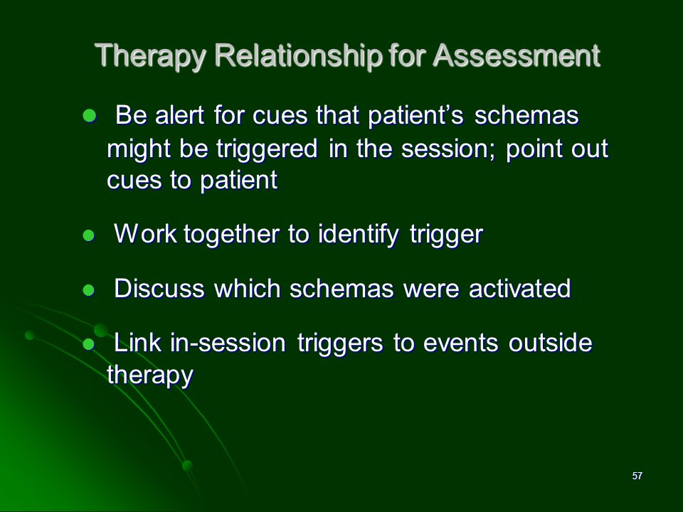 Therapy Relationship for Assessment Be alert for cues that patients schemas might be triggered in the session; point out cues to patient Be alert for