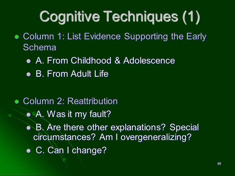 Cognitive Techniques (1) Column 1: List Evidence Supporting the Early Schema Column 1: List Evidence Supporting the Early Schema A. From Childhood & A