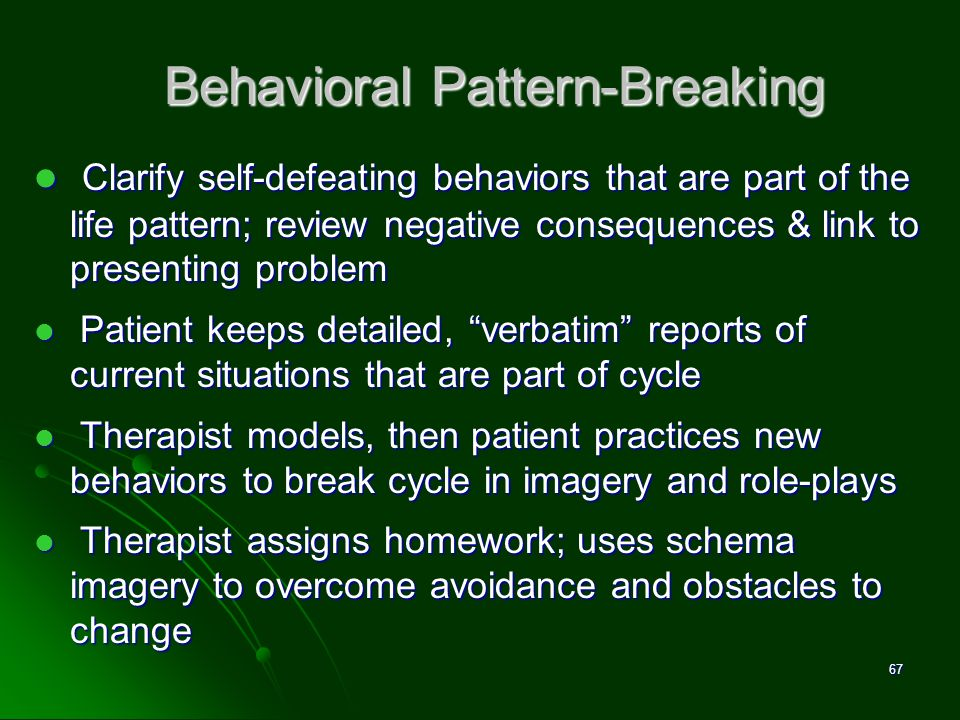 Behavioral Pattern-Breaking Clarify self-defeating behaviors that are part of the life pattern; review negative consequences & link to presenting prob