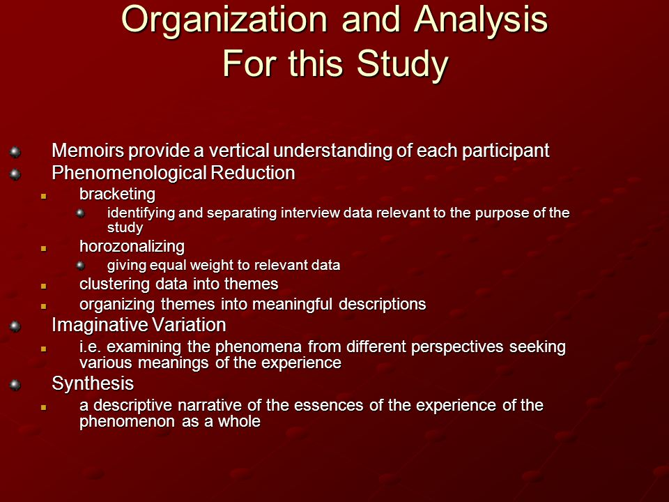 Organization and Analysis For this Study Memoirs provide a vertical understanding of each participant Phenomenological Reduction bracketing bracketing identifying and separating interview data relevant to the purpose of the study horozonalizing horozonalizing giving equal weight to relevant data clustering data into themes clustering data into themes organizing themes into meaningful descriptions organizing themes into meaningful descriptions Imaginative Variation i.e.