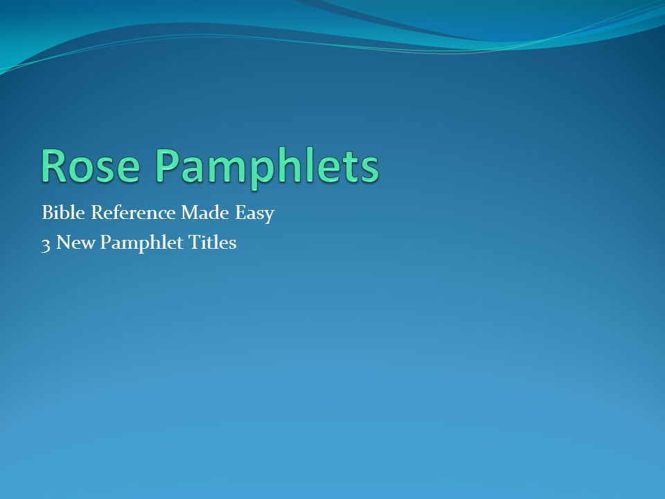 What is a Pamphlet.