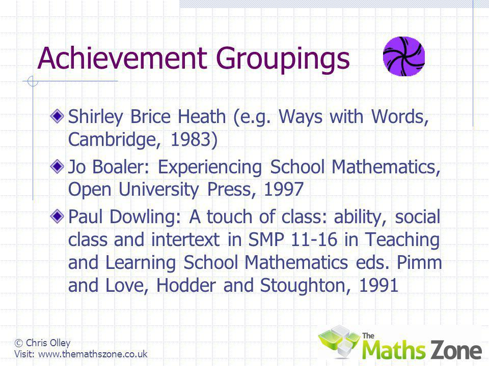 © Chris Olley Visit: www.themathszone.co.uk You Can Succeed The language of success Achievement Algebra from the off Higher The language of failure Ab
