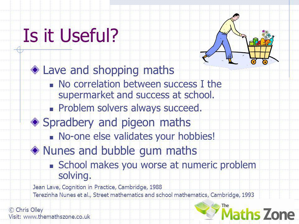 © Chris Olley Visit: www.themathszone.co.uk Why Teach Maths? What do we say to students? What do we say to their parents? What do we say to each other
