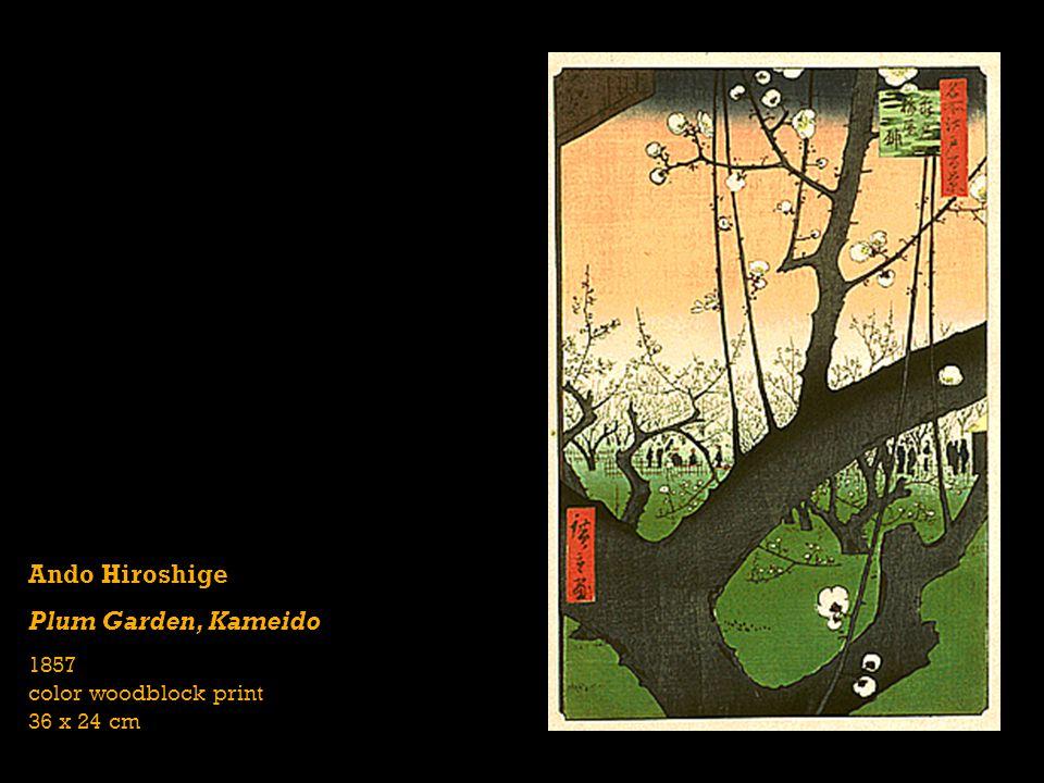 Ando Hiroshige Plum Garden, Kameido 1857 color woodblock print 36 x 24 cm