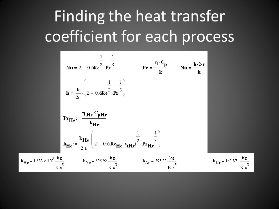 Finding the heat transfer coefficient for each process