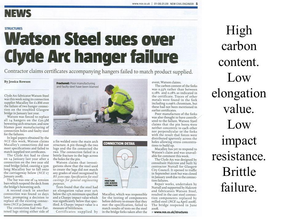 High carbon content. Low elongation value. Low impact resistance. Brittle failure.