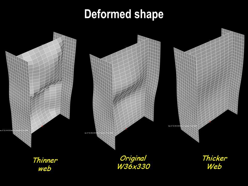 Deformed shape Thinner web Original W36x330 Thicker Web