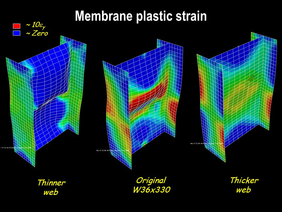 Membrane plastic strain Thinner web Original W36x330 Thicker web ~ 10 y ~ Zero