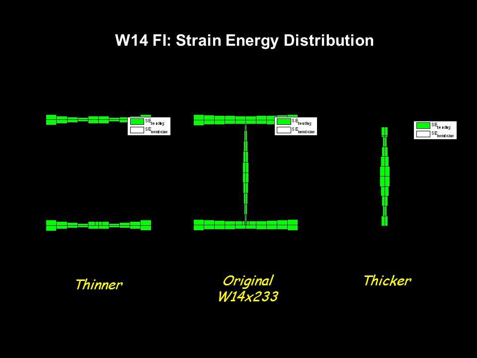 W14 FI: Strain Energy Distribution Thinner ThickerOriginal W14x233